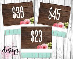 Honey & Lace Pricing Cards, Honey and Lace Price Card 5x5, FB Shop Facebook Album Covers for Consultants, Best rustic wood vintage shabby chic design by TootSweetDesignCo on Etsy