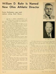 "The Ohio Alumnus, May 1963. ""William D. Rohr is Named New Ohio Athletic Director."" William Rohr takes over Ohio athletics from retiring director Brandon ""Butch"" Grover. :: Ohio University Archives"