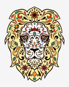 Animal-lion-Sugar-Skull-day-of-the-dead-sticker-vinyl-decal-n37-4