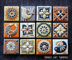 Fall tile cookies | Cookie Connection Gorgeous Autumn tiles by Yankee Girl Yummies posted on Cookie Connection. Tiles are inspired by the artist, Jocelyn Proust, who creates colorful ceramic tiles.