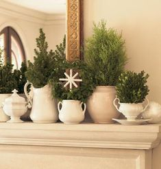Love my white ironstone! A great option for a Winter mantle...: