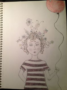 Doodle hair girl with balloon