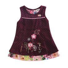 Niñas vestido de invierno ropa de las muchachas ropa para niños 100% algodón polka dot vestido bordado de flores vestido de los cabritos para las muchachas H5106(China (Mainland))