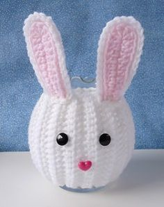 Bunny Jar Cozy - free crochet pattern - Free Crochet Bunny Patterns - The Lavender Chair