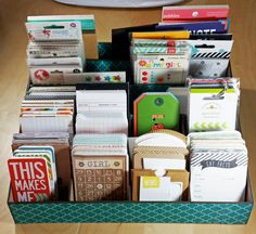Project Life Storage - Scrapbook.com- repurposed file folder box used to store project life essentials