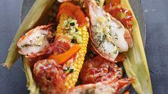 Maiskolben und Garnelen mit Pancetta-Kürbis und Zucchini-Butter #News #Genuss