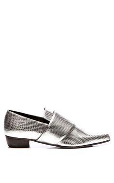 Metallic Silver Embossed Snakeskin Flat by Rodarte for Preorder on Moda Operandi