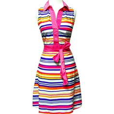 Vintage Inspired Hot Pink Striped Belted Dress (Hot Pink) ($25) ❤ liked on Polyvore featuring dresses, vintage looking dresses, pink dress with belt, dresses with belts, belted dresses and pink dress
