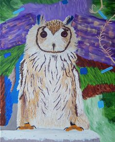 Abstract OWL on CANVAS Acrylic Painting Reproduction, Textured Paste 12 X 16 Bird Wildlife Animal Home Decor Animal Colorful Purple SALE by ABrushOfLife on Etsy