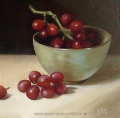 """""""Red Grapes"""" in Bowl by Elaine Brady Smith, x oil on panel Green Bowl, Red Grapes, Still Life, Serving Bowls, Oil, Tableware, Painting, Mixing Bowls"""