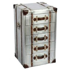 Industrial Aluminium Chest of Drawers, Silver