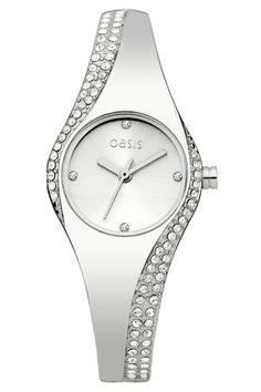 Elegant ladies silver coloured stone set bangle watch with silver coloured dial. #makebelieve