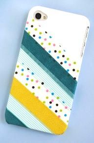 Washi Tape Phone Cover...What a clever idea! #washitapedecor  #phonedecor