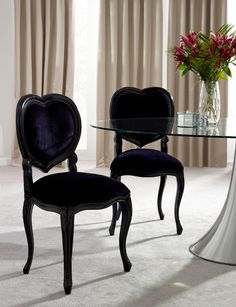 These are so perfect! - French Noir Black Painted 'Heart' Chair