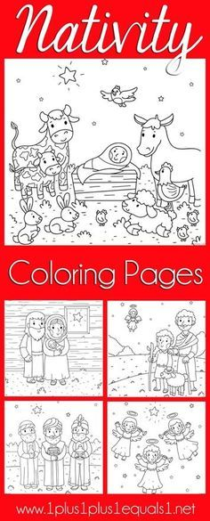 Christmas Nativity Coloring Pages - (1plus1plus1equals1)
