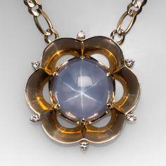 Massive 63 carat star sapphire vintage necklace