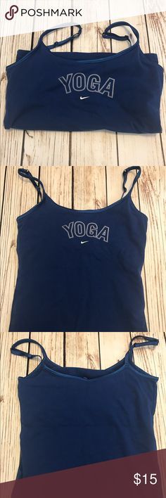 """Nike Yoga Tank Top Blue Built in Bra Small Women's Nike Royal Blue Athletic Workout top with adjustable straps and built in bra. RN#56323. Gently worn with only light pilling under arms. Approx measurements: Length from bottom of shirt to top of shirt (not straps) 15"""" bust-26/27"""". Material does have stretch. 92% cotton 2% spandex Nike Tops Tank Tops"""