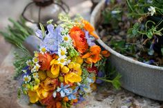 Orange-and-Blue-Wildflower-Bouquet-2 | photography by http://www.bonnieberryphotography.com