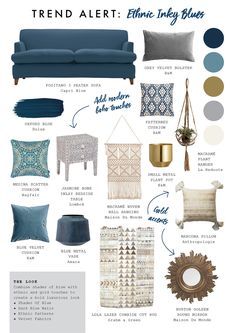Blue Monday's are so now! Get sofa inspiration from our Positano mood board. - Blue Monday's are so now! Get sofa inspiration from our Positano mood board. Blue Monday's are so now! Get sofa inspiration from our Positano mood board. Blue Couch Living Room, Navy Living Rooms, Boho Living Room, Blue And Gold Living Room, Sofa Inspiration, Living Room Inspiration, Interior Design Living Room, Living Room Designs, Interior Design Mood Board Examples
