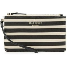 Kate Spade New York Slim Bee Striped Wristlet ($68) ❤ liked on Polyvore featuring bags, handbags, clutches, stripe handbag, wristlet purse, stripe purse, kate spade clutches and kate spade handbag