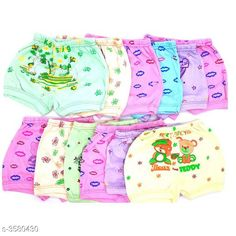 Innerwear Elegant Kid's Innerwear  Fabric: Cotton Size: Age Group (0 Months - 6 Months) - 12 in Age Group (6 Months - 9 Months) - 12 in Age Group (9 Months - 12 Months) - 14 in Age Group (1 - 2 Years) - 18 in Age Group (2 - 3 Years) - 20 in Age Group (3 - 4 Years) - 22 in Age Group (4 - 5 Years) - 24 in Description: It Has Pack Of 12 Kids Panty & Bloomer For Unisex Work: Printed Country of Origin: India Sizes Available: 0-3 Months, 0-6 Months, 3-6 Months, 6-9 Months, 6-12 Months, 9-12 Months, 12-18 Months, 18-24 Months, 0-1 Years, 1-2 Years, 2-3 Years, 3-4 Years, 4-5 Years, 5-6 Years, 6-7 Years, 7-8 Years, 8-9 Years, 9-10 Years, 10-11 Years, 11-12 Years   Catalog Rating: ★3.9 (3395)  Catalog Name: Modern Elegant Kid's Innerwear 1 Vol 8 CatalogID_499238 C59-SC1187 Code: 413-3580430-447