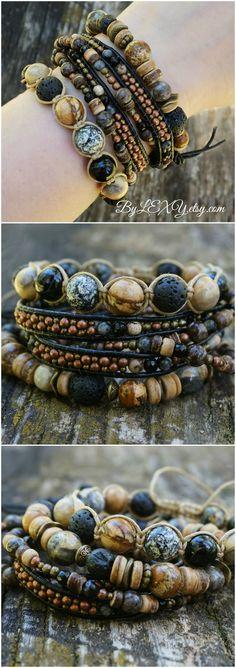 "Set of 3 Boho ""Earthy Shadows"" Stack Bracelets, Bohemian Rustic Gypsy Stretch Wrap Leather Multistrand Shamballa Bracelets ByLEXY #boho, #bohemian, #wrapbracelet, #leatherbracelet, #gypsy, #gypsybracelet, #setofbracelets, #stackablebracelet, #bohostack, #indie, #indiebracelet, #gypsyjewelry, #bohojewelry, #bohemianjewelry, #bohobracelet, #bohemianbracelet"