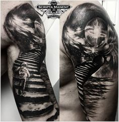 Stairs to Universe tattoo Time Tattoos, Small Tattoos, New Tattoos, Tattoos For Guys, Cool Tattoos, Tatoos, Stairway To Heaven Tattoo, Boss Tattoo, Heaven Tattoos