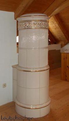 Kachelofen rund| runder Ofen elektrisch beheizt | Säulenofen mit Elektroheizung