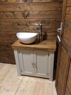Chunky rustic painted bathroom sink vanity unit wood shabby chic *farrow&am Bathroom Sink Vanity Units, Wood Bathroom, Small Bathroom, Ikea Bathroom, Wood Vanity, Wood Sink, Painted Vanity, Painted Dressers, Vanity Decor