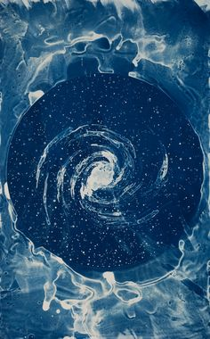 """Your Body is a Space That Sees is series of cyanotype prints that sources historical imagery and narratives to trace contributions of women in astronomy since antiquity."" By artist Lia Halloran, 2015."