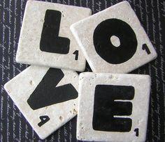 Scrabble Tile Coasters: LOVE