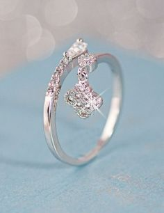 Adjustable Crystal Floral Alloy Silver Plated Women Ring