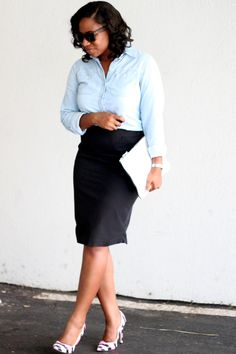 "Denim Shirt + Black Skirt ""Always in Season"""