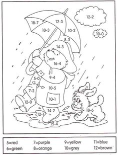 Subtraction Color by Number And Worksheet For Kids. Are you looking for subtraction materials for your child? See the various printable subtraction worksheets w Math Coloring Worksheets, Subtraction Worksheets, Number Worksheets, Worksheets For Kids, Kindergarten Worksheets, Math Activities, Addition Worksheets, Printable Coloring, Math For Kids