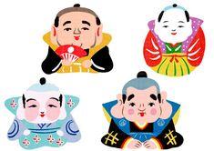 福助のイラスト。民芸品調 Maneki Neko, Lucky Things, Art For Kids, Minnie Mouse, Disney Characters, Fictional Characters, Charmed, Japan, Traditional