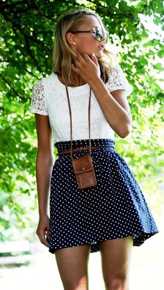 #vogueattire #lechic polka dot skirt