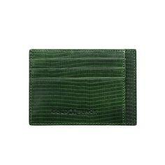 LEATHER CREDIT CARD HOLDER BILL / LIZARD GREEN GOLDBLACK Premium Accessories