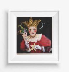 harlequin,red,3d effect, handmade, digital photography,wall decor,home decor,italian design,