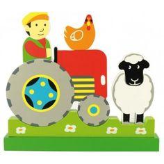 Puzzle vertical. Juego de piezas magnético que al unirse con facilidad componen una escena de un granjero montado en su tractor junto a unos animales.