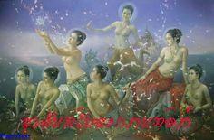 Kai Fine Art is an art website, shows painting and illustration works all over the world. Traditional Paintings, Traditional Art, Traditional Literature, Songkran Festival, Thai Art, Thai Thai, Dance Art, Beauty Art, Asian Art