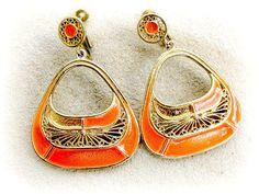Vintage Vendome Orange Enamel Dangle Earrings With Screw Clips