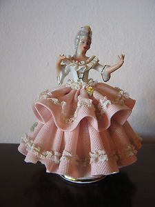 Vintage German Sandizell Porcelain Lace Dresden Figurine of Woman | eBay