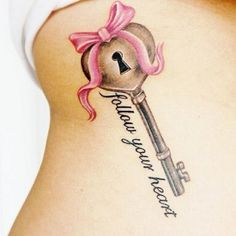 """Follow Your Heart"" Key and Lock tattoo"