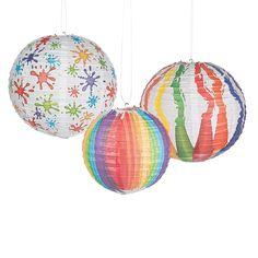 """Art Palette Paper Lanterns: Includes 8"""" & 12"""" diam. paper lanterns, wire hangers.. (6 pcs. per set) $10.99"""