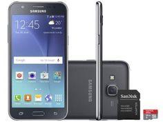 Smartphone Samsung Galaxy J5 Duos 16GB Preto Dual - Chip 4G Câm. 13MP + Selfie 5MP Flash + Cartão 16GB