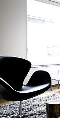 Via Coco Lapine   Black and White   Arne Jacobsen Swan Chair