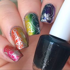All of the color paints mini polishes were used! Purple Perspective, Turquoise Aesthetic, Primarilly Yellow, Chromatic Orange and Pen & Pink was sponged on over the Silver Canvas Undercoat.. Then stamped with the silver canvas polish!