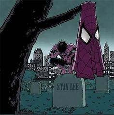 Rest in Peace Stan Lee. Spiderman mourns the death of Stan Lee. Marvel Dc Comics, Marvel Avengers, Ms Marvel, Marvel Girls, Marvel Memes, Marvel Actors, Drawing Marvel, Comic Art, Comic Books