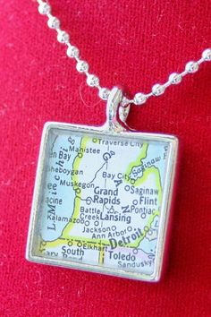 Grand Rapids-Lansing-Michigan Map Pendant  Put a map of someplace that is important to you.