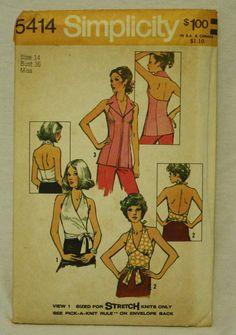 Simplicity 5414 1970s 70s Vintage Halter Top by EleanorMeriwether